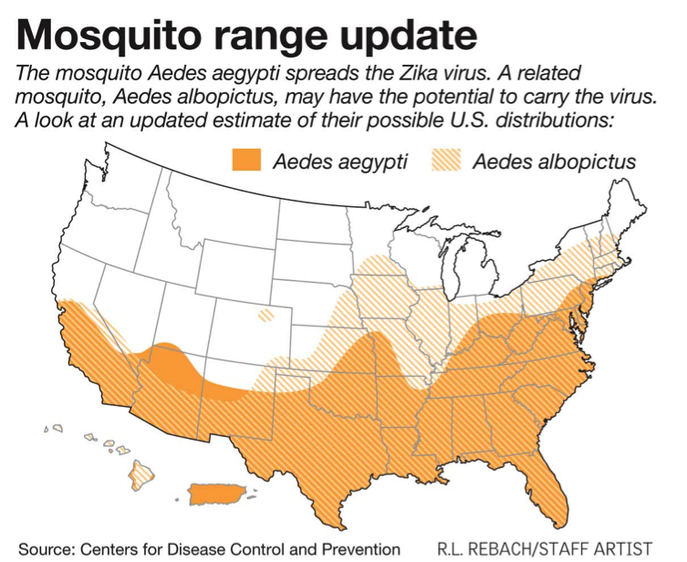 Map of U.S. showing estimated range of mosquitoes carrying Zika virus, LawnWise for mosquito control spring hill tn, mosquito control franklin tn, mosquito control brentwood tn, mosquito control smyrna tn, mosquito control murfreesboro tn, mosquito control la vergne tn, mosquito control nashville tn, home pest defense and lawn care.